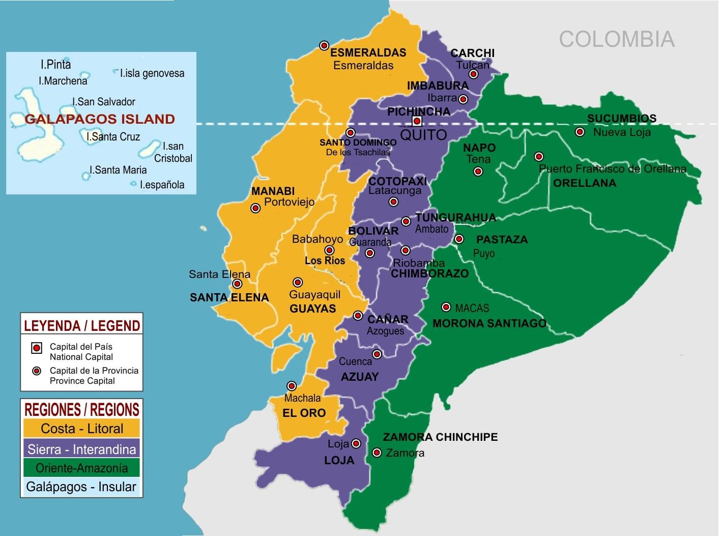 Comida ecuatoriana - Regiones