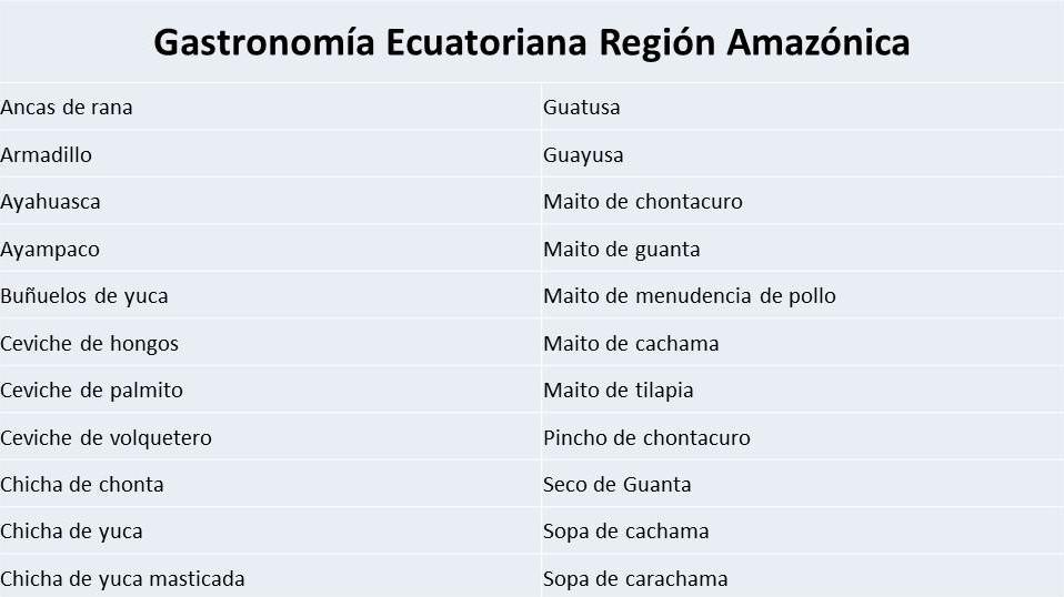 Comida ecuatoriana - Región amazónica